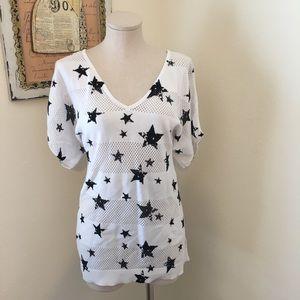Torrid White Short Sleeve Sweater W/ Black Stars